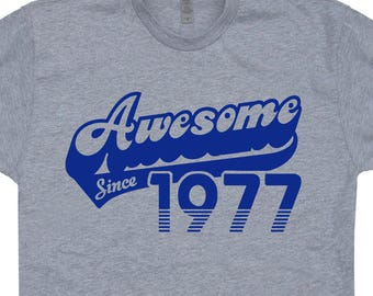 T-SHIRT MADE IN 77-1977 Anniversaire Cadeau Birthday Gift Date Naissance 70/'s