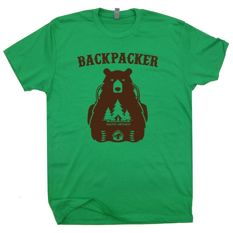 8bd23608778 Backpacking Bear T Shirt Funny Hiking Shirt Graphic Gift For