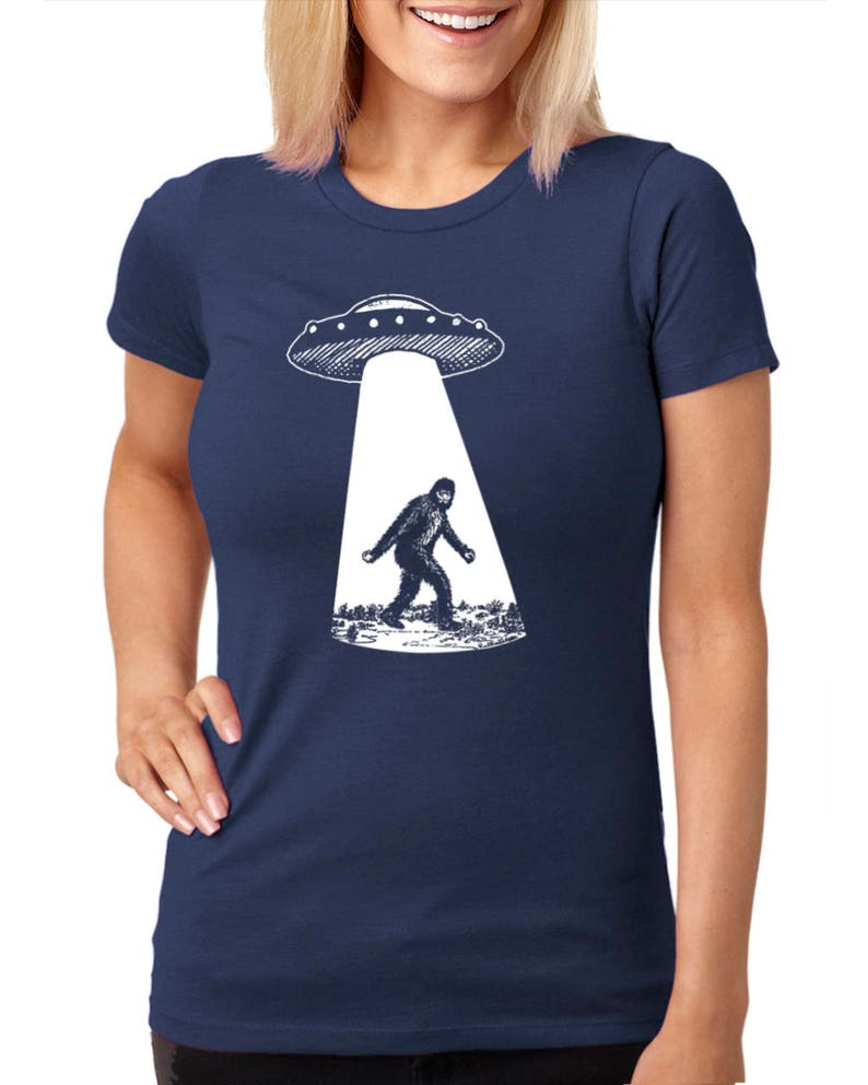 6f72b3fa8 Womens Bigfoot UFO T Shirt Sasquatch Shirt Funny Shirts For | Etsy