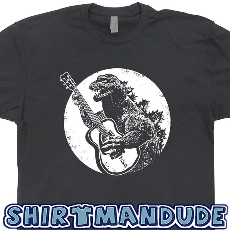 aa19404ebc8 Guitar T Shirt Vintage Guitar Shirts Godzilla Playing Guitar