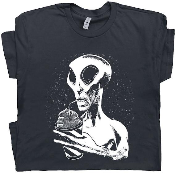 Ufo T Shirts Alien Drinking Shirt Cryptozoology Funny Weird Etsy
