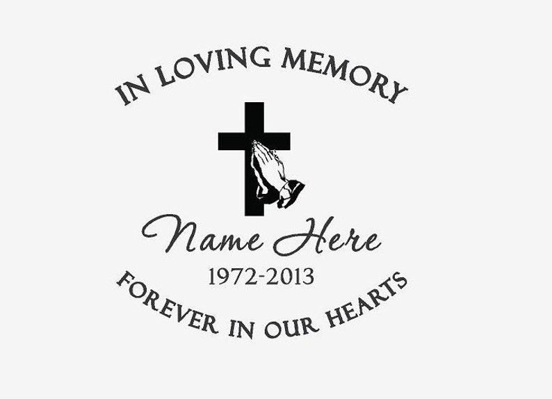 """In Loving Memory 10/"""" Cowboy Kneeling Cross Decal Window Personalized Memorial"""