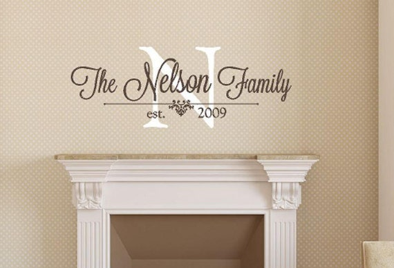 Family Monogram Wall Decal Personalized Family Wall Decal Etsy