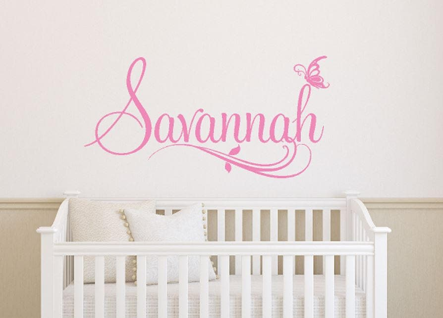 personalized girls name wall decal baby girl name decal | etsy
