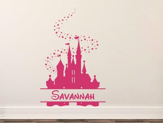 Wandtattoo Disney-Schloss, Kinderzimmer und Spielzimmer-Wand-Dekor,  personalisierte Namen Aufkleber, CE158 Med