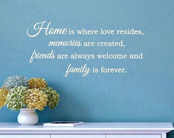Home is Where Love Resides Memories are Created Wall Decal | Wall Art | Home Memories Love | Vinyl Lettering | Housewarming Gift | Family E7