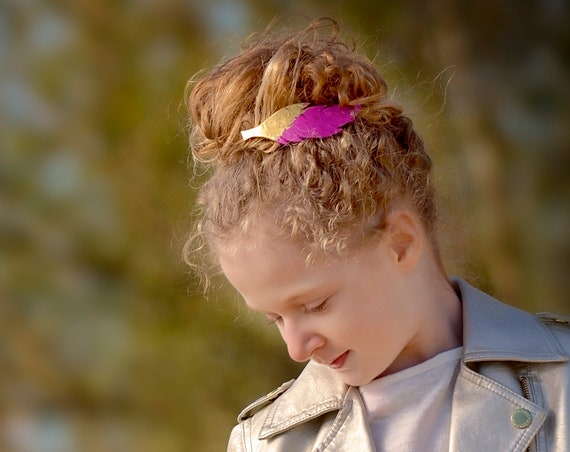 Gold Dipped Feather Barrette