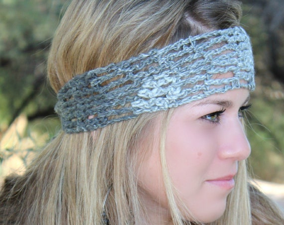 Shades of Gray/Graphite Womens Crochet Headband, Hairwrap for Summer Hair, Bad Hair Day Hair Wrap, Perfect Headband for Workouts