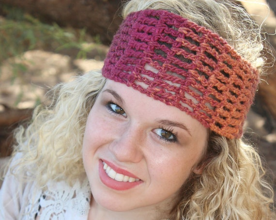 Shades of Rust + Copper Womens Crochet Headband, Hairwrap for Summer Hair, Bad Hair Day Hair Wrap, Perfect Headband for Workouts