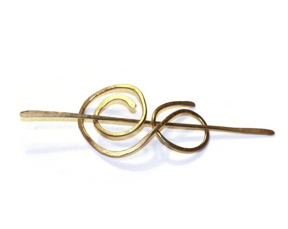 Hammered Brass Scroll Slide for Hair, Slide for Ponytails, Celtic Style Shawl Pin Hair Slide