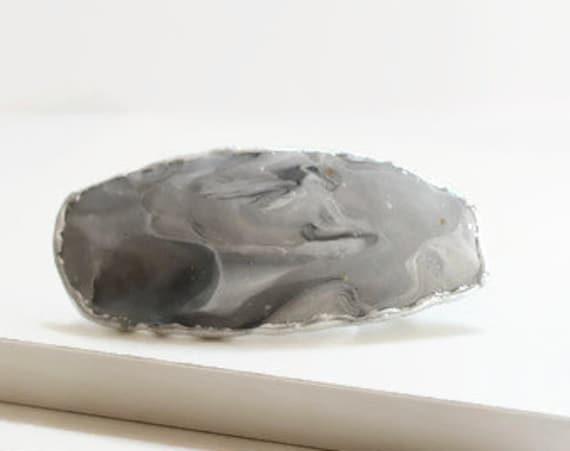 Swirled Gray Hair Barrette / Clip