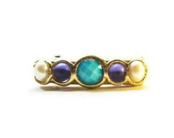 Mini Jeweled Hair Clip, Small Hair Barrette with Pearl, Turquoise and Amethyst Stones, Holiday Sparkle Hair Accessory