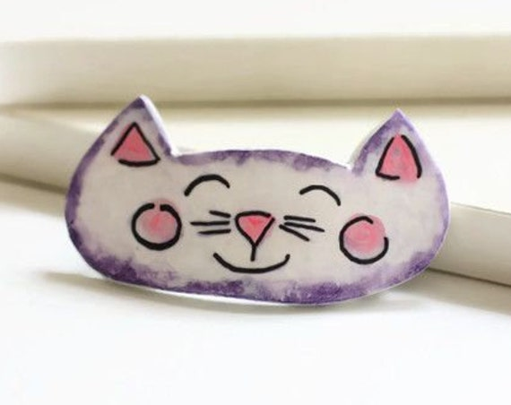 Happy Purple Kitty Cat Barrette - Medium