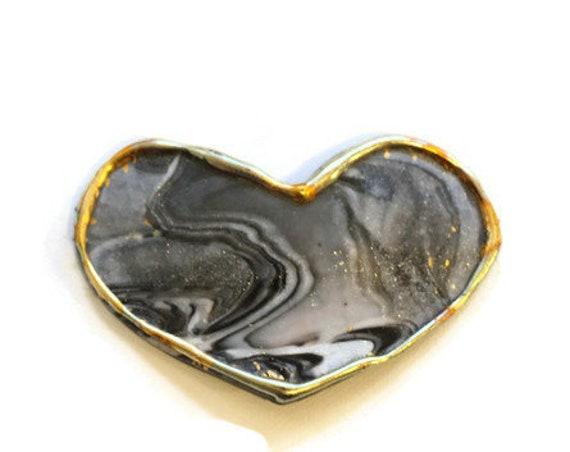 Black Marble Heart Hair Clip
