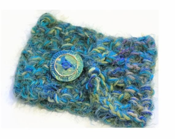 Super Silky Artisan Cowl Neck, Colors of the Sea Scarf with Custom Button, Beautiful Scarves to Wear, Gifts for Her