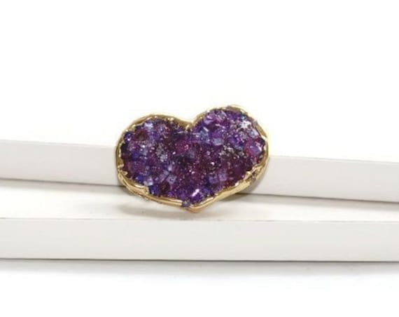 Small Purple Heart Faux Druse Hair Clip, Holiday Sparkle Hair Accessory, Crystal Sparkle Mini Barrette
