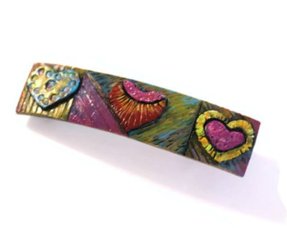 Unique Hair Clip, Handpainted Clip, Colorful Barrette, Artisan Barrette, Hair Clip Barrette, Museum Shop, Womans Hair Clip, Girls Barrettes