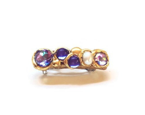 Small Amethyst and Pearl Mini Hair Clip, Jeweled Clips for Hair Styles, Sparkly Hair Jewelry, Gifts for Her
