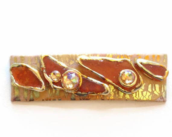 Coral Gold Seaglass Hair Clip, Barrettes for Long and Thick Hair, Made by Hand Hair Acccessory