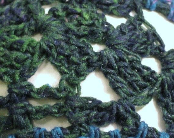 Lacy Crochet Blue/Green Bohemian Style Hair Wrap