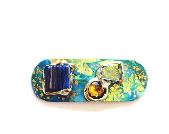 Blue Green + Gold Medium Size Hair Clip, Barrettes with Jewels for Her