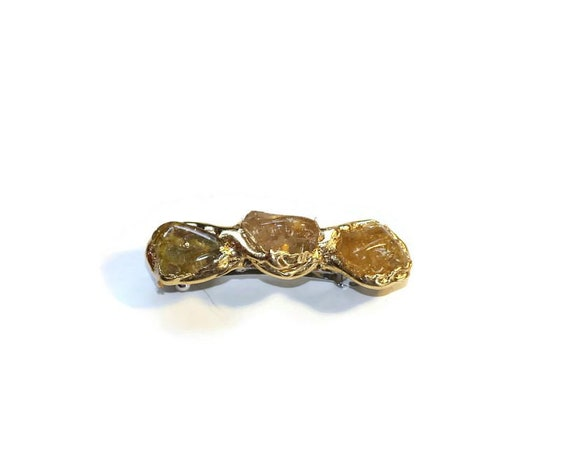 Citrine Stone Nugget Mini Hair Clip, Barrettes with Semi Precious Stones, Jewelry for Your Hair