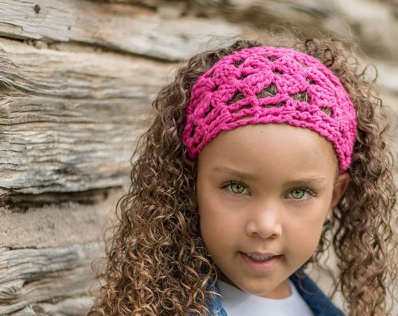 Hot Pink Cotton Hair Wrap, Headband for Workouts and Yoga, Boho Hairwrap for Long Hair or Short Hair