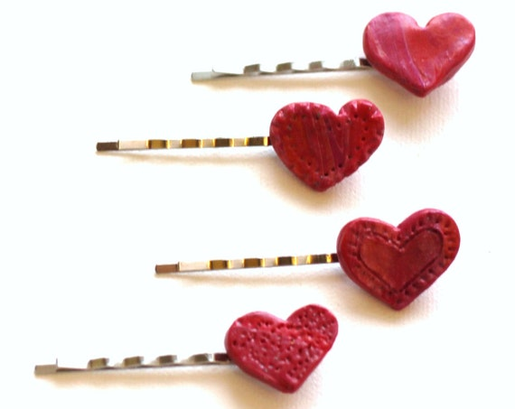 Heart Hair Pins, Pink Heart Bobby Pins