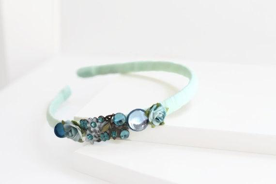 Spring Floral Aqua Headband