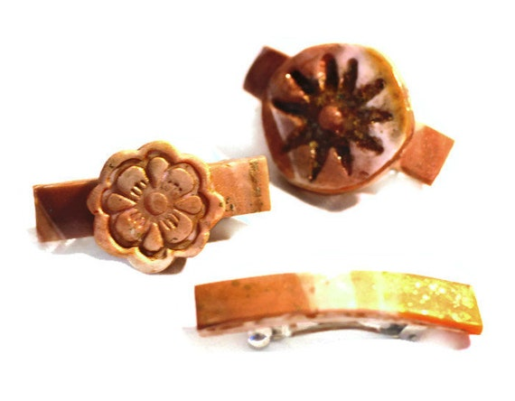 Bitsy Barrettes, 3 Polymer Clay Barrettes, Sun-Kissed with Shimmery Gold Wash, Beach colors