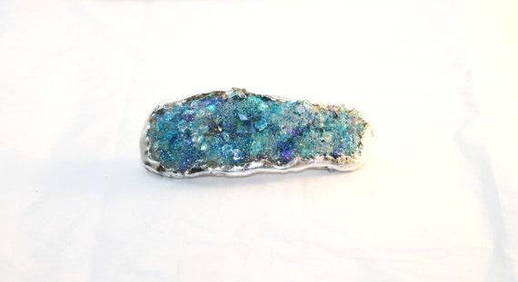 Hair Clip, Seaglass Hair Clip, Faux Druzy Clip, Barrette for Thick Hair, Crystal Hair Clip, Turquoise Blue Clip, Hair Clip Barrette, Wedding