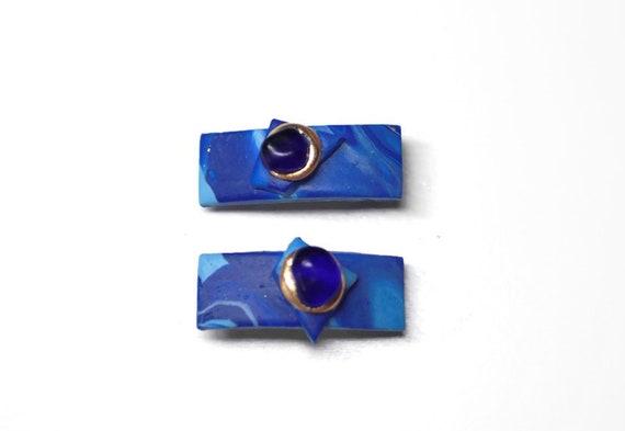 Blue Seaglass Nugget Hair Clips, Small Blue Hair Barrettes