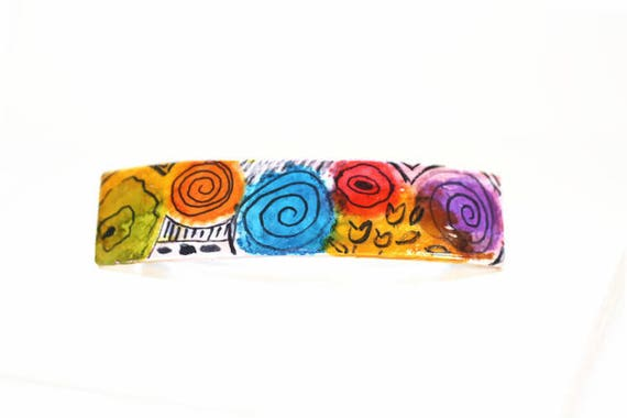 Colorful Op Art Hair Barrette, Hand Painted Hair Clips, Clips for Art Lovers
