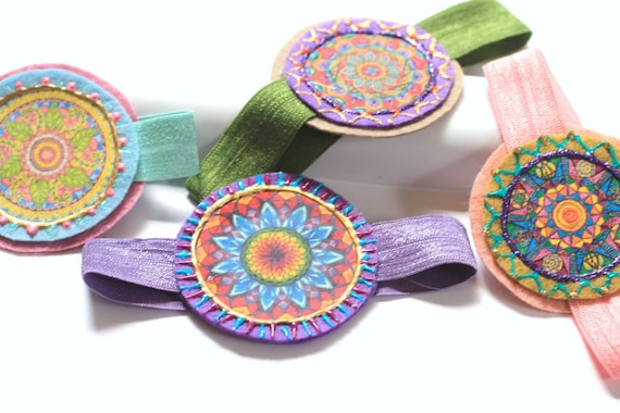 Hair Accessory | Ties | Bun Wraps | Ponytail Elastics | Womens Hair Ties | Vintage | Mandala Design | Elastic Ponytail Wraps | Hair Elastics