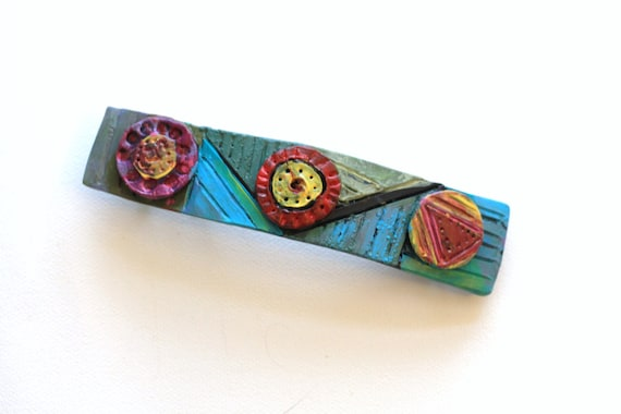 Hand Painted and Carved Hair Barrette/Hair Clip, Unique Hair Accessory for Long or Thick Hair