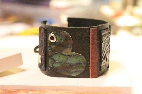 Leather Cuff Bracelet | Vintage Leather Bracelet | Boho Jewelry | Vintage Jewelry | Handmade Bracelet | Leather Studs | Tie On Cuff Bracelet