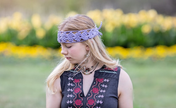 Cotton Headband, Crochet Hair Wrap, Boho Hair Wrap, Yoga Hair Wrap, Purple Cotton Band, Comfortable Hairband, Handmade Hair Wrap, Bun Wrap