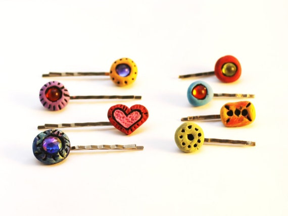 Mini Bobby Pins, Colorful Bobbies, Hair Clippies, Fun Colorful Hair Pins, Moroccan Inspired Colors to Wear or Share, Tiny Hair Accessories
