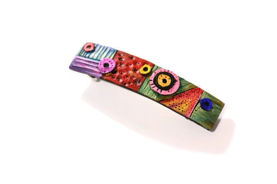 Unique Hand Painted Hair Clip, Colorful Hair Barrette for Long to Medium Hair Styles