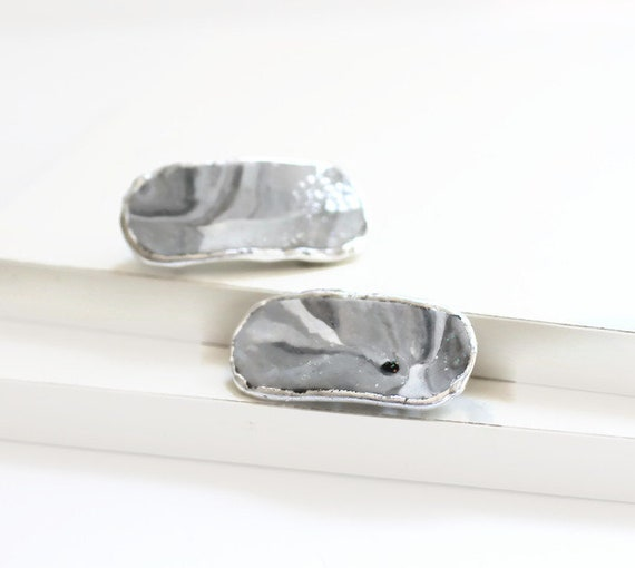 Gray Swirl Marbled Hair Clips, Pair of Matching Hair Clips, Small Hair Barrettes