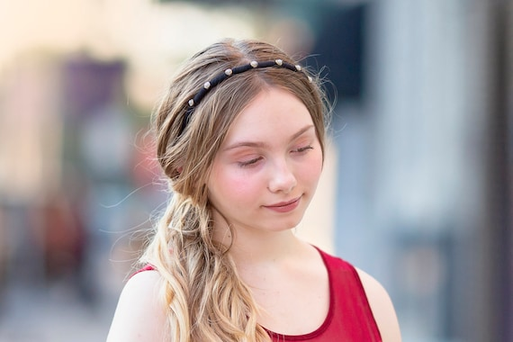 Black Pearl Skinny Hairband, Headband for Formal Wear
