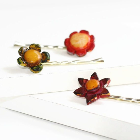 Mini Fall Flower Bobby Pins, Set of Three Pins
