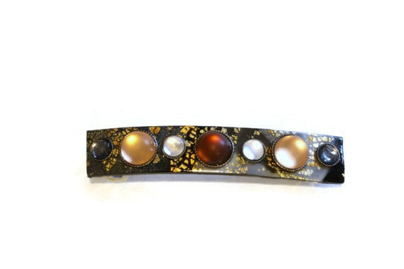 Hair Clip with Natural Color Stones on Polymer Clay, Lightweight Hair Barrette