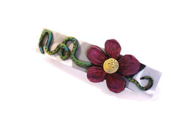 Barrette | Hair Clip | Hair Accessory | Hair Barrette | Womens Hair Clips | Handmade Hair Accessories | Polymer Clay Hair Barrette | Flowers