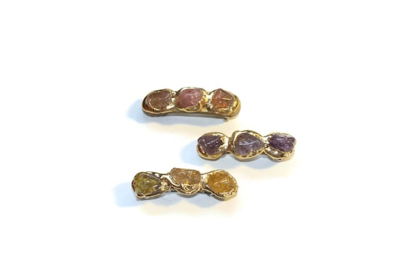 Stone Nugget Mini Hair Clips, Barrettes with Semi Precious Stones, Jewelry for Your Hair