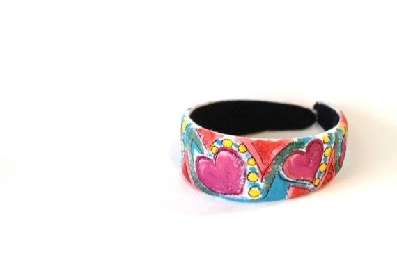 Womens Hair Accessory, Headband, Up-Cycled, Re-Purposed Hair Band, Girls Hair Accesory, Hand Painted Re-Cycled,Long Hair Accessory, Headband