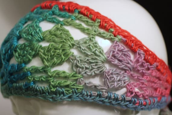 Crochet Rainbow Tie Headband, Comfortable Hair Wrap