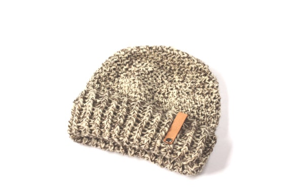 Knit Winter Hat, Monogrammed Accessory, Mens Hat, Roll Down Hat, Slouch Hat, Wool Hat, Leather Monogram Hat, Custom Hat, Winter Hat for Men