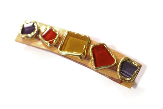 Barrette, Hair clip, Hand Made Gypsy Style, Earth Colors, Artisan Inspired Barrette Set with Glass, Gold Leaf and Polymer Clay, Earth Colors