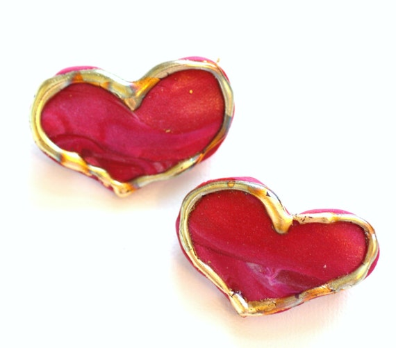 Small Red + Pink Heart Barrettes, Small Heart Hair Clips for Women